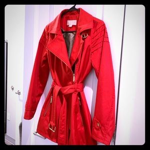 Michael Kors Red Water-Resistant Trench Coat